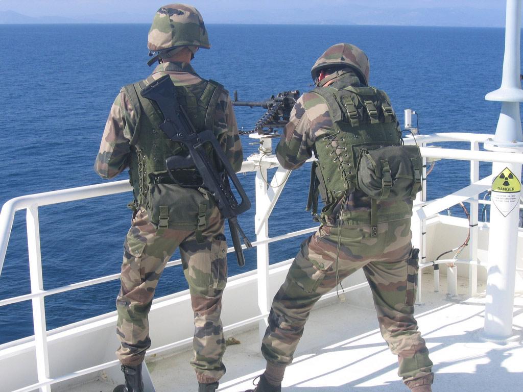 Equipe de protection embarquée fournie par la Forfusco (PHOTOS : Marine Nationale)