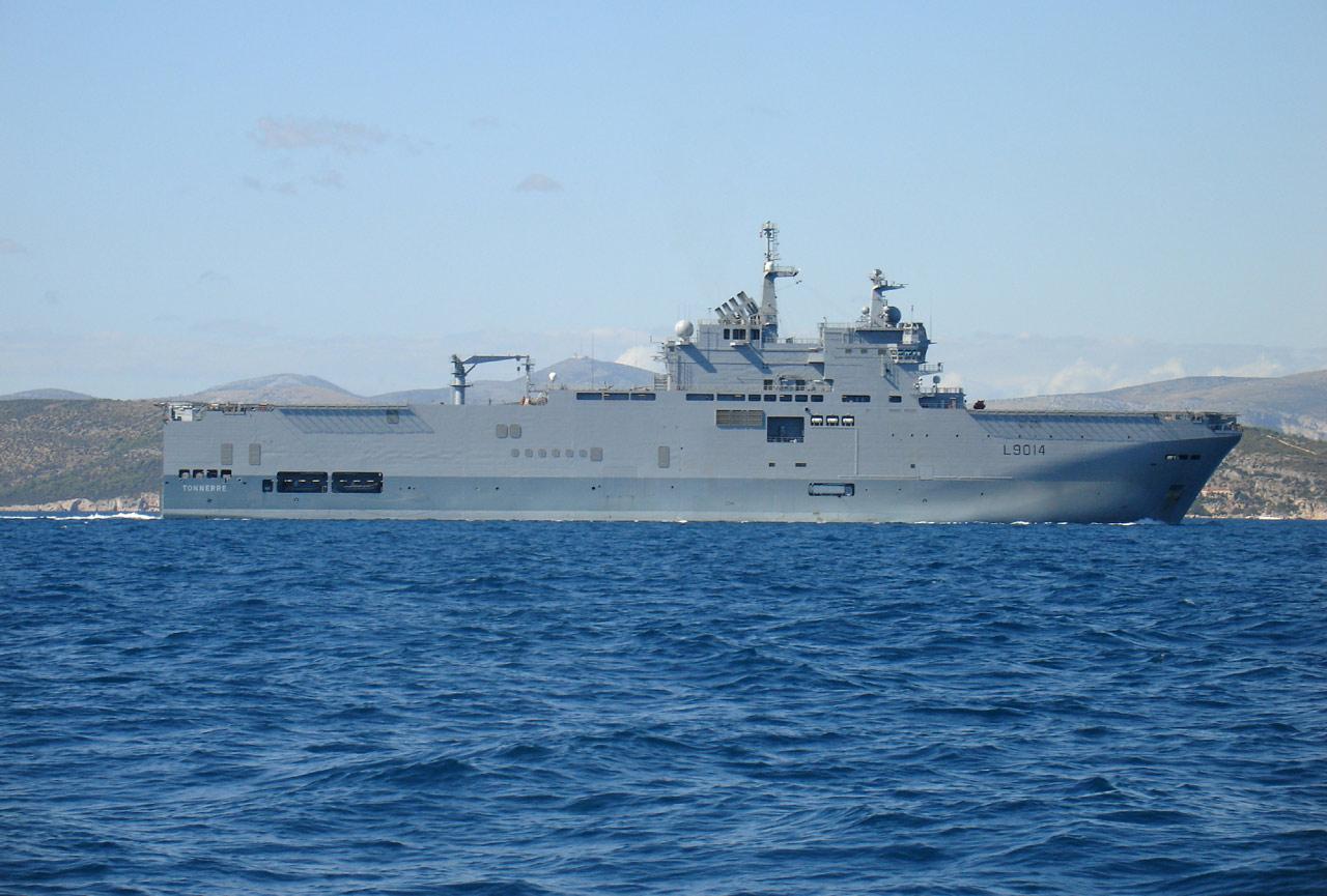 Pour l'exercice « Noble Mariner 2012 », le BPC Tonnerre était le bâtiment de commandement de la Task Force 445 (Masur)